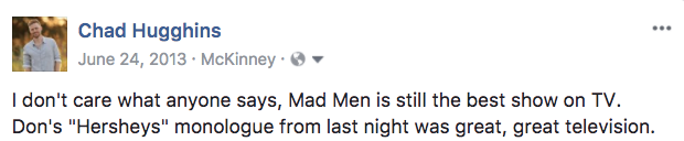 Facebook post from 2013